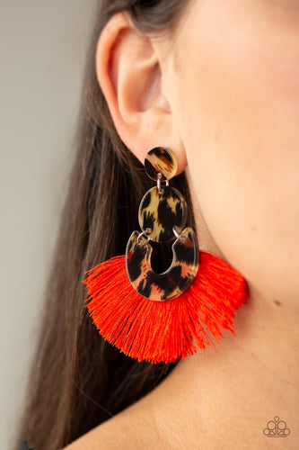Paparazzi Jewelry Earrings One Big Party ANIMAL - Red