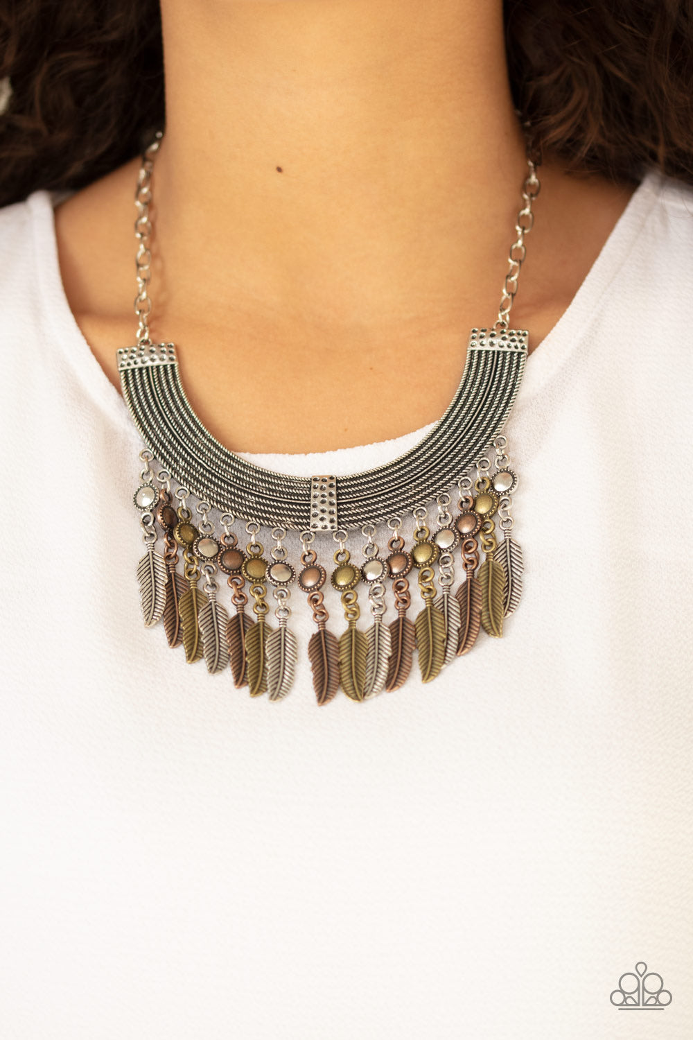 Paparazzi Jewelry Necklace Fierce in Feathers - Multi