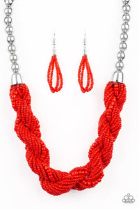 Paparazzi Jewelry Necklace Savannah Surfin - Red