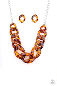 Paparazzi Jewelry Necklace Red-HAUTE Mama - Brown