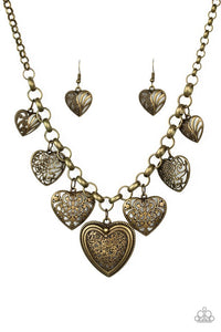 Paparazzi Jewelry Necklace Love Lockets - Brass