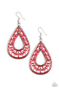 Paparazzi Jewelry Earrings Drop Anchor - Red