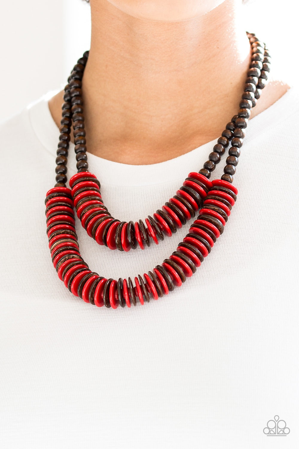 Paparazzi Jewelry Wooden Dominican Disco - Red