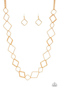 Paparazzi Jewelry Necklace Backed Into A Corner - Gold