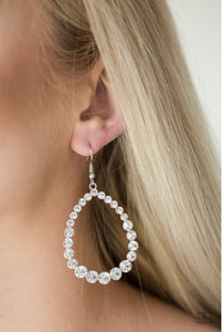 Paparazzi Jewelry Earrings Rise and Sparkle! - White