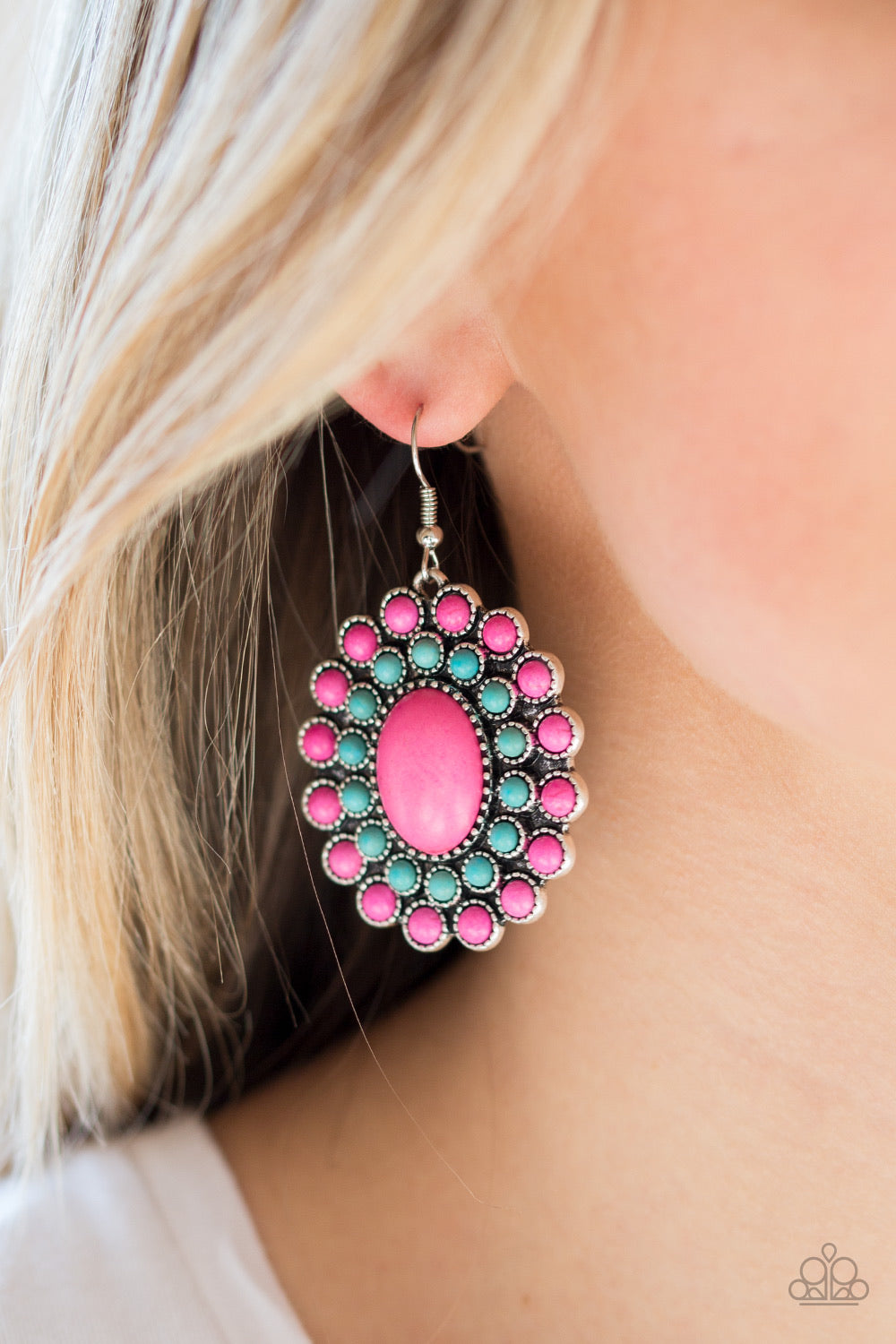Paparazzi Jewelry Earrings Stone Solstice - Pink