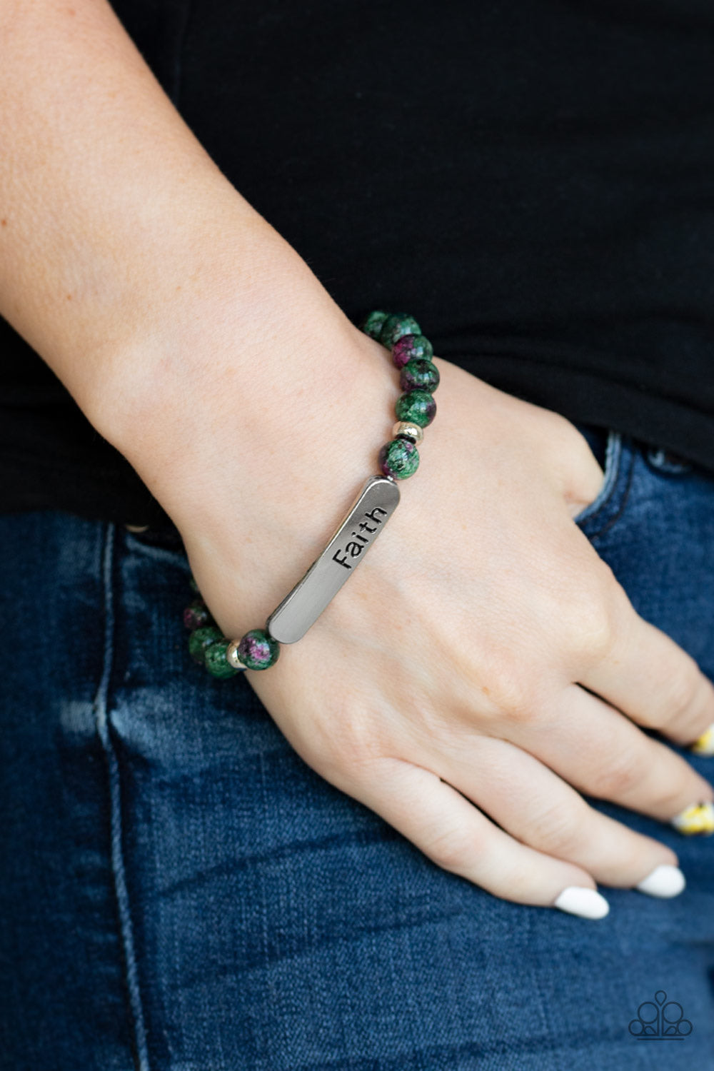 Paparazzi Jewelry Inspirational Faith In All Things - Green