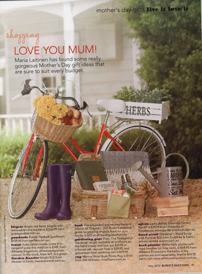 March 2010 'Australian House and Garden Shopping' section entitled 'Nine By Design' featured gumboots and Wellies from wellies.com.au. Styling by Jo Carmichael, Photography by Sue Ferris