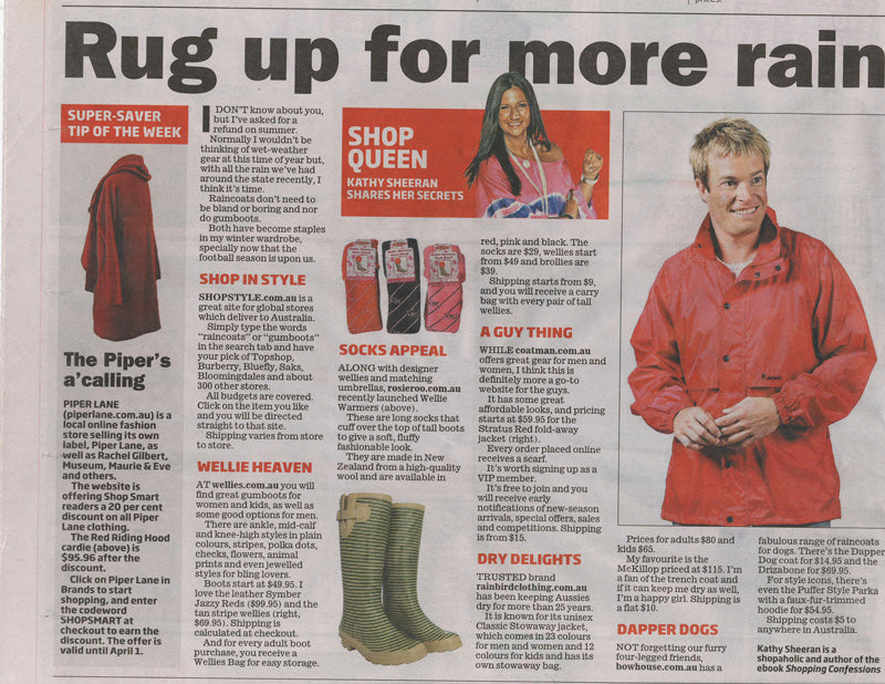 The Sunday Age Melbourne Inside Out January 24th 2010 featured Wellies Online gumboots in their Savvy Shoppers section. By Joanne Brookfield.