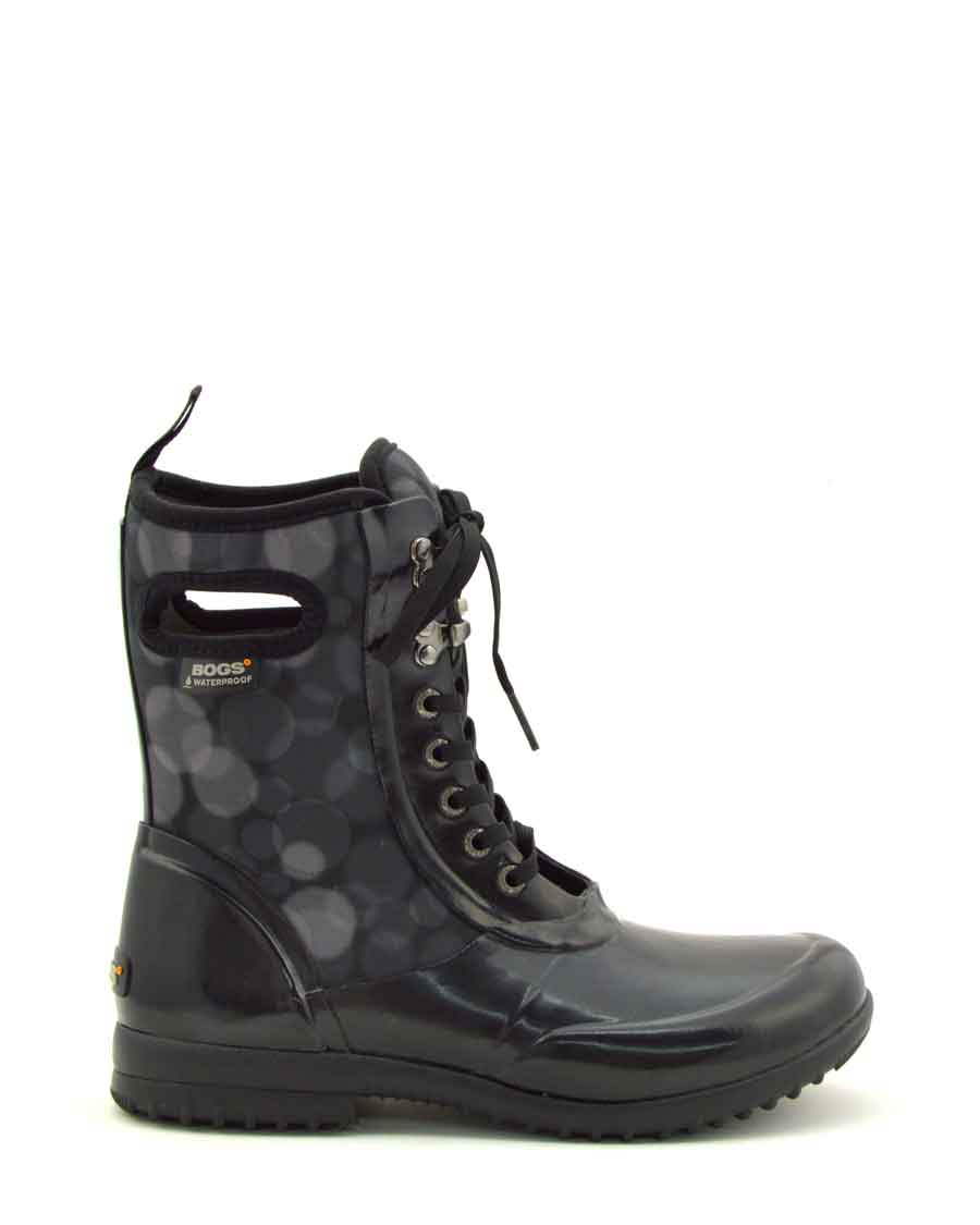 Sidney Rain Black Lace Up Gumboots