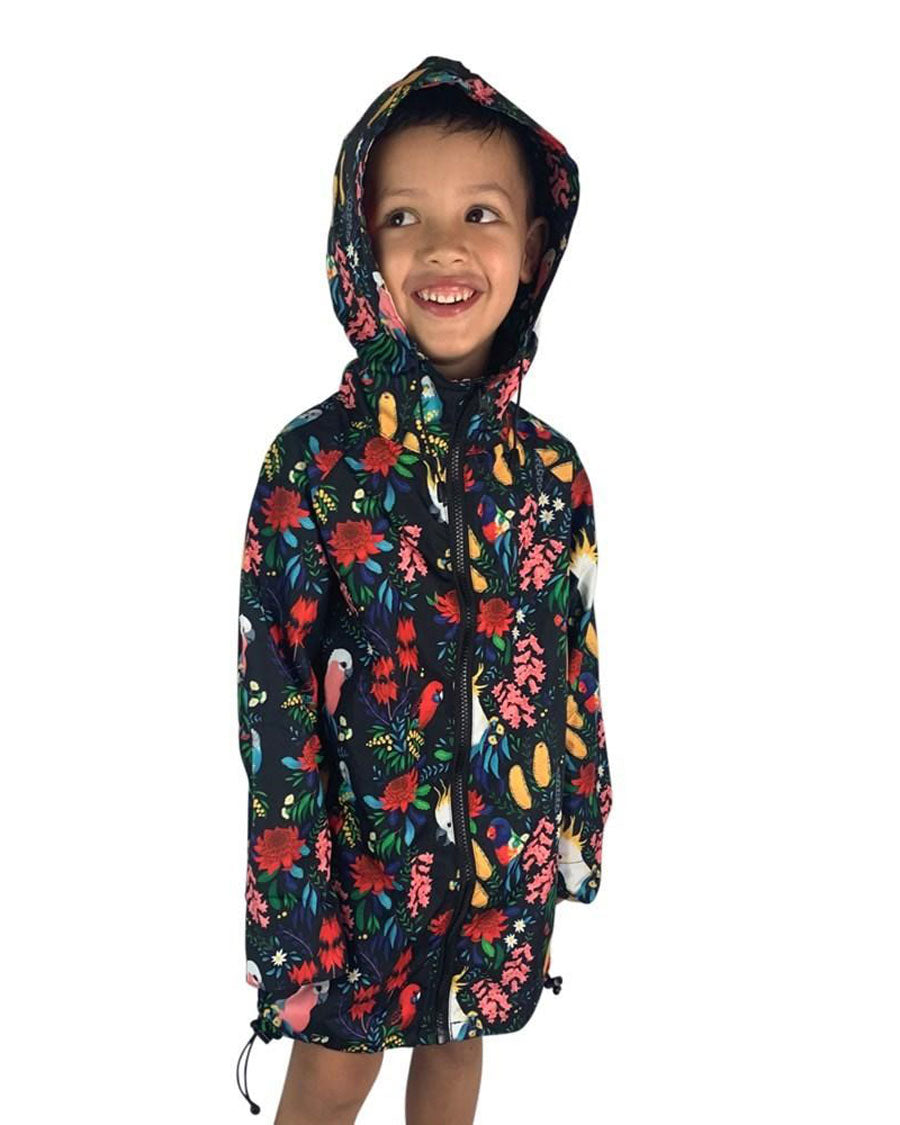 Bush Parrots Kids Rain Jacket