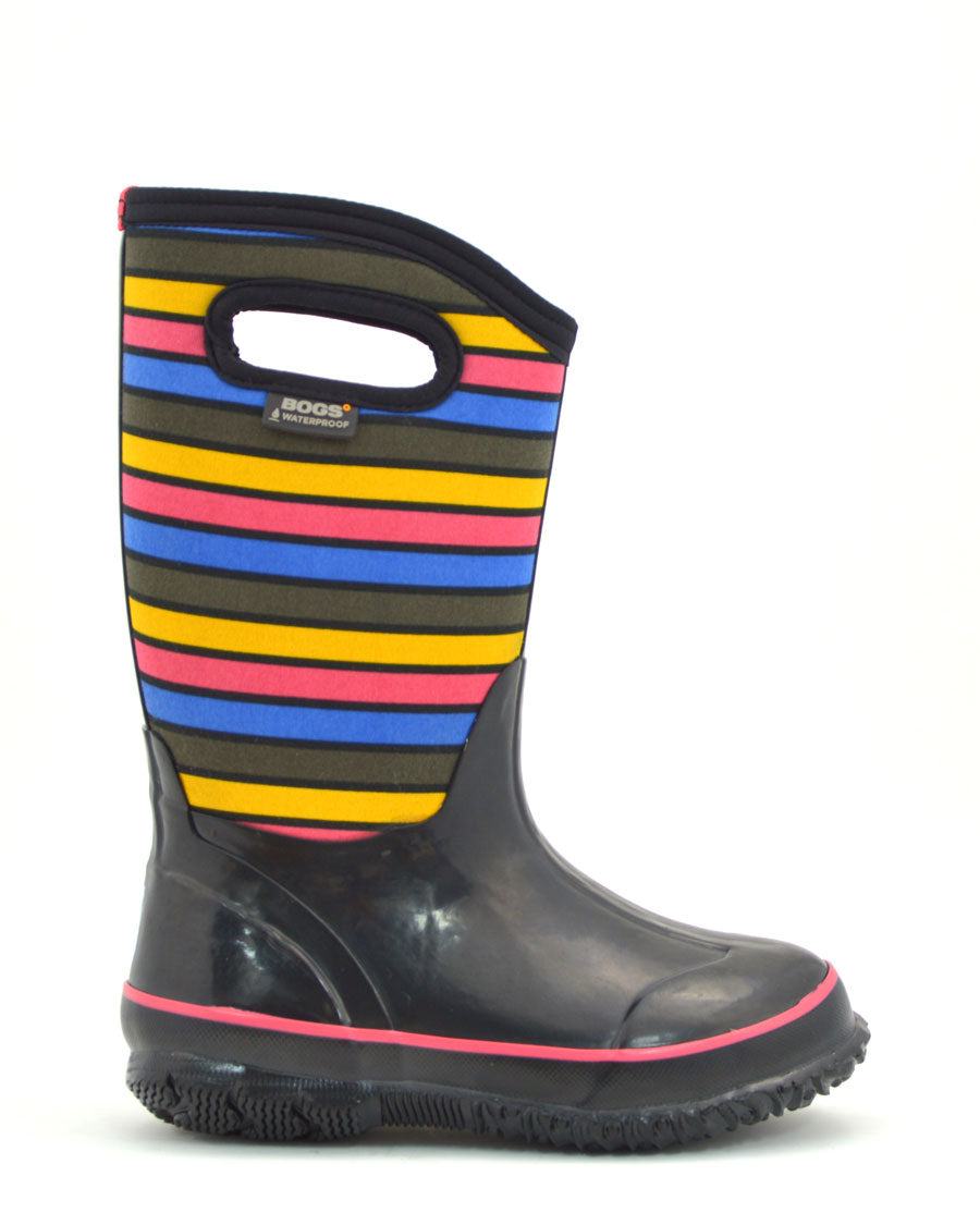 Classic Stripes Black Multi Kids Gumboots