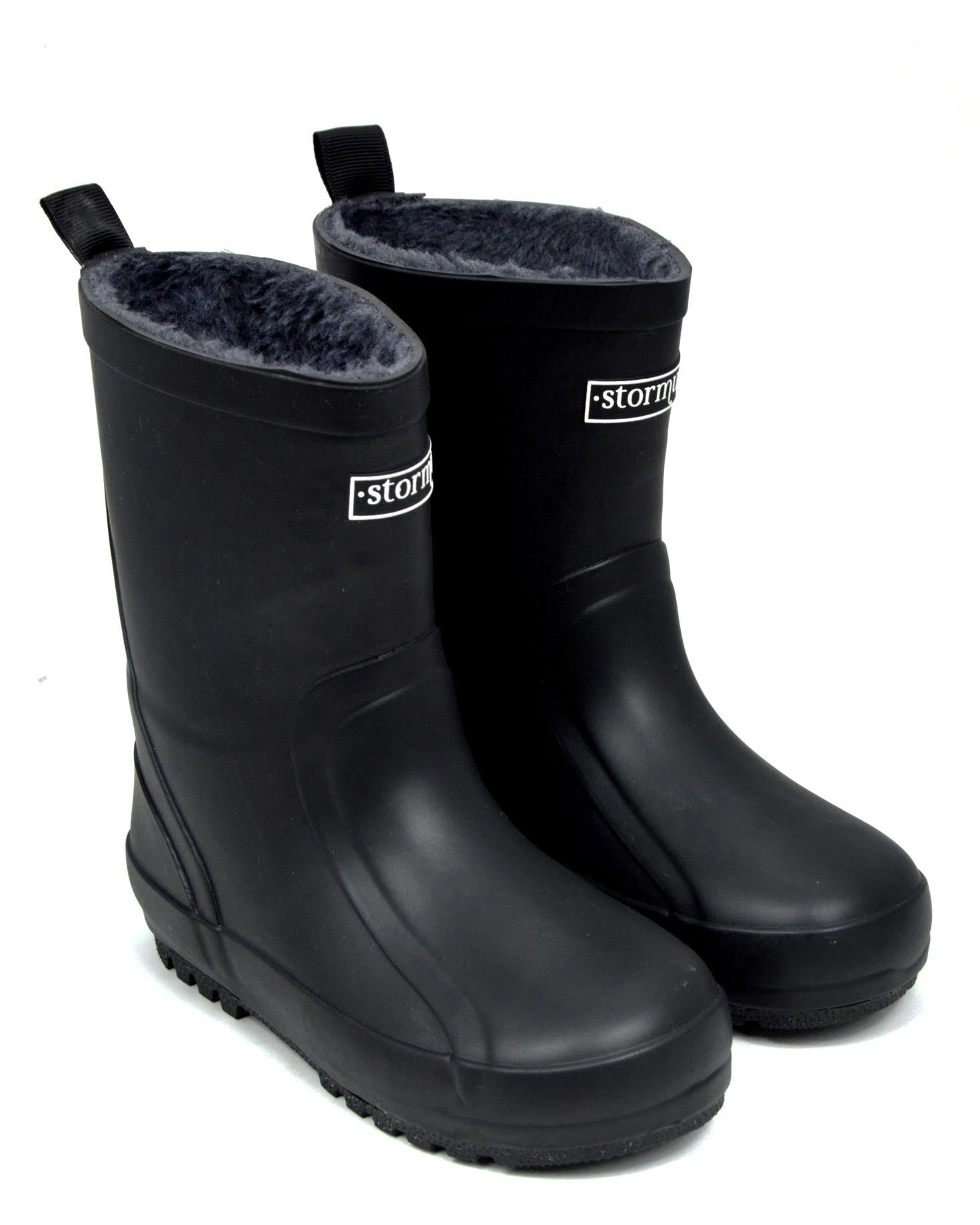 Fleeced Original II Black Kids Gumboots
