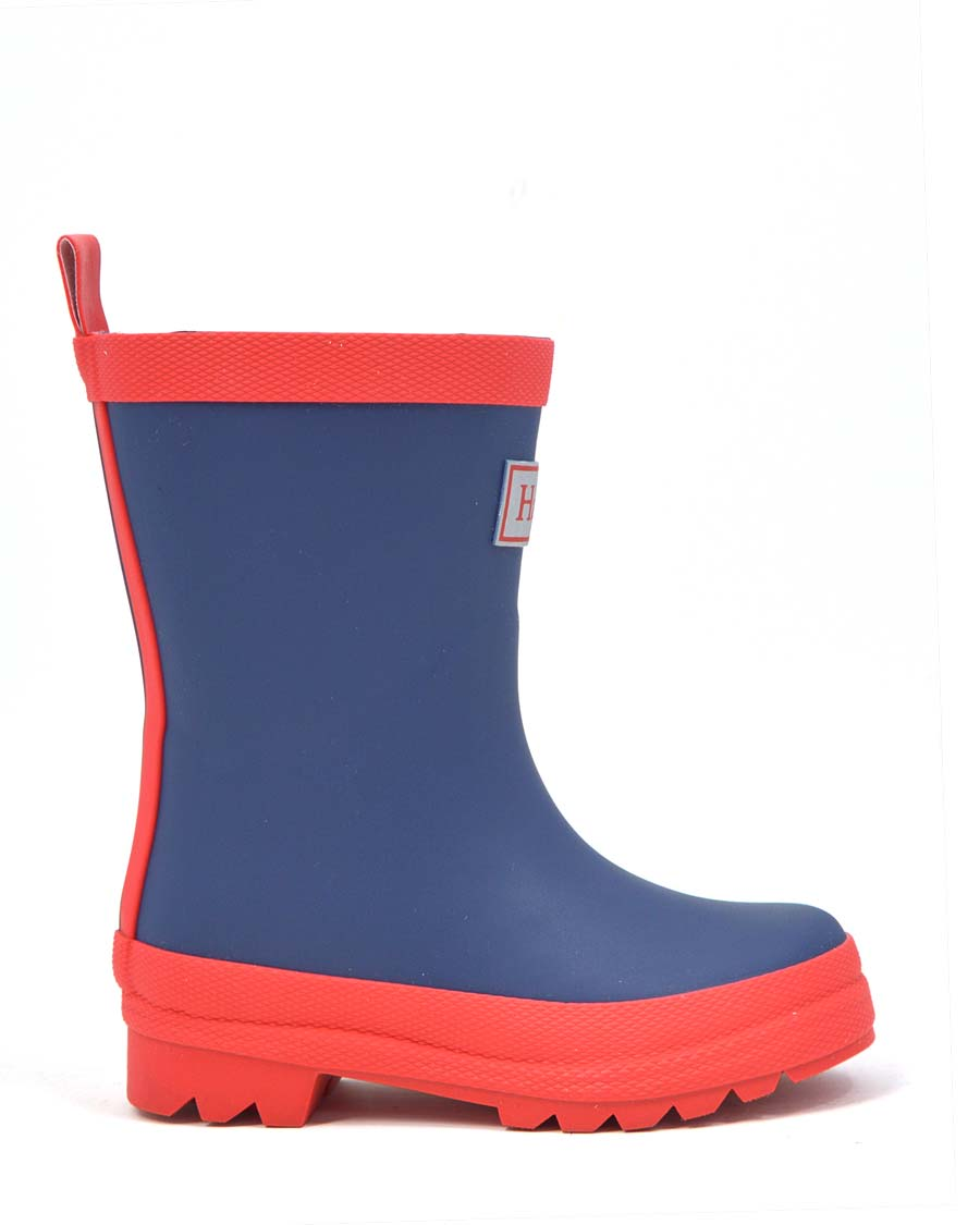 Navy and Red Matte Gumboots