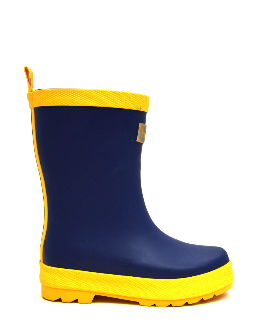 Navy & Yellow Matte Gumboots