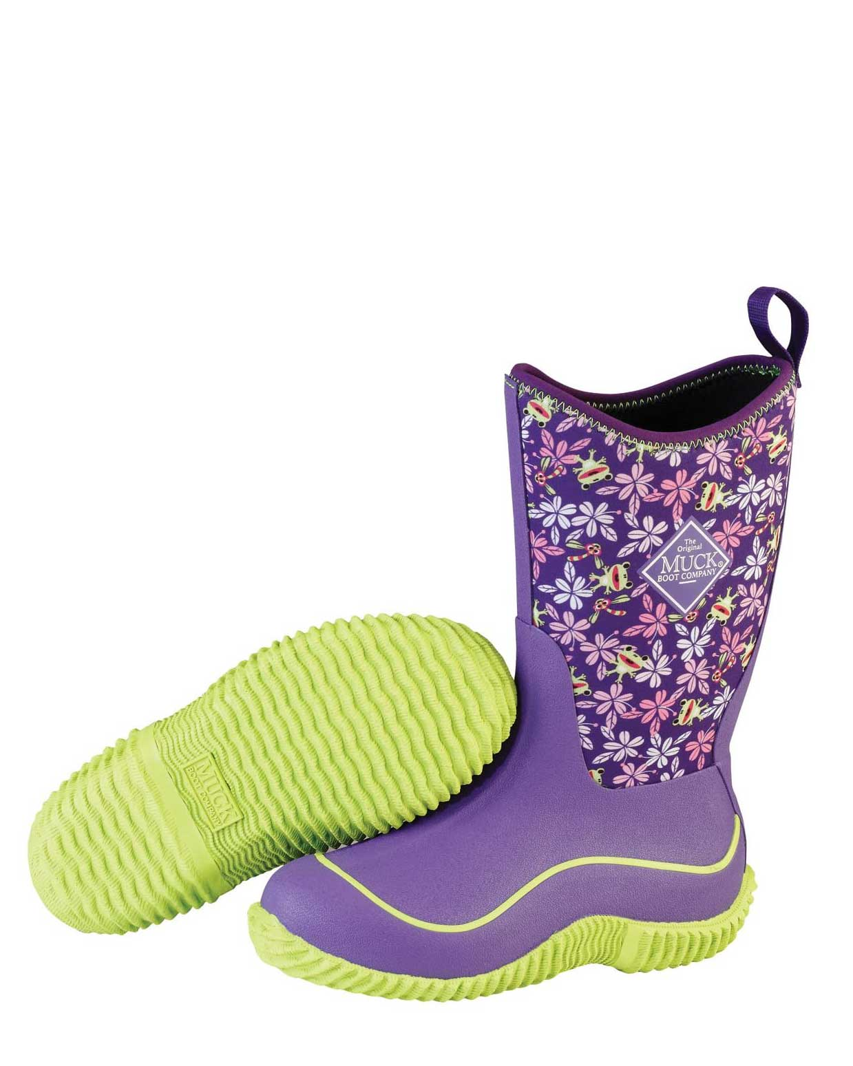 Kids Hale Purple Frogs Gumboots