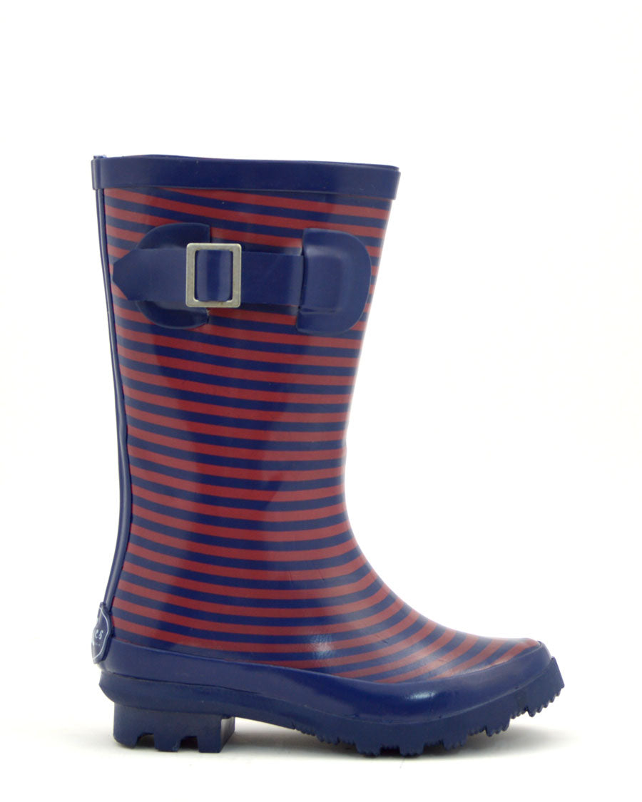 Navy Stripe Tall Gumboots Kids