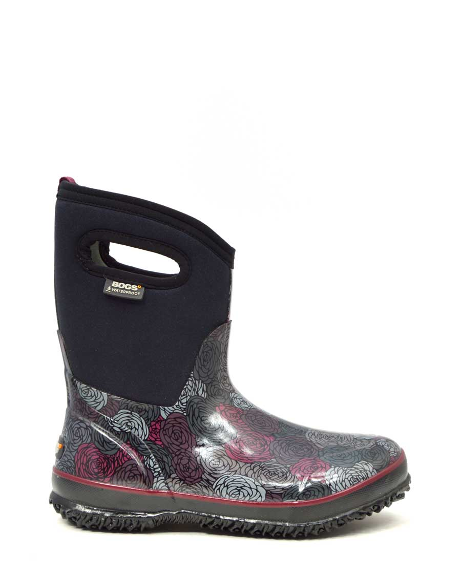 Classic Rosey Mid Black Gumboots