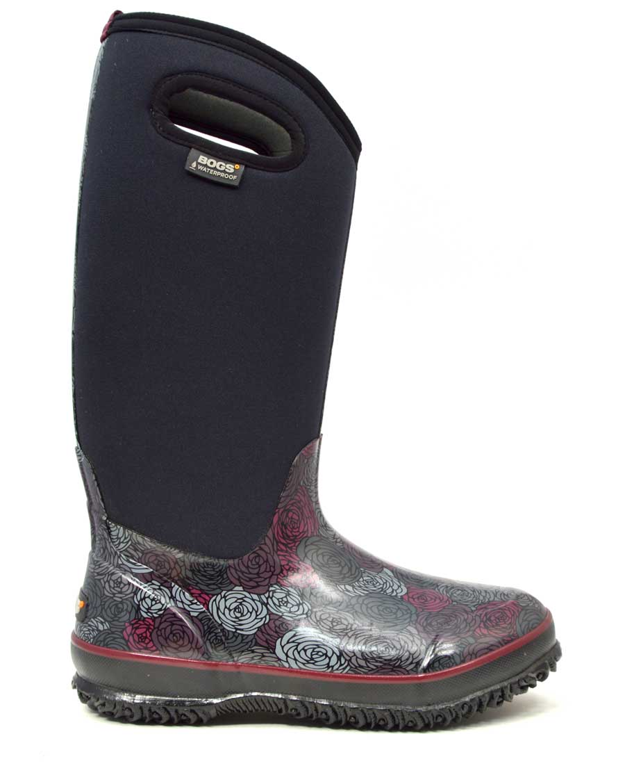 Classic Rosey Tall Black Gumboots