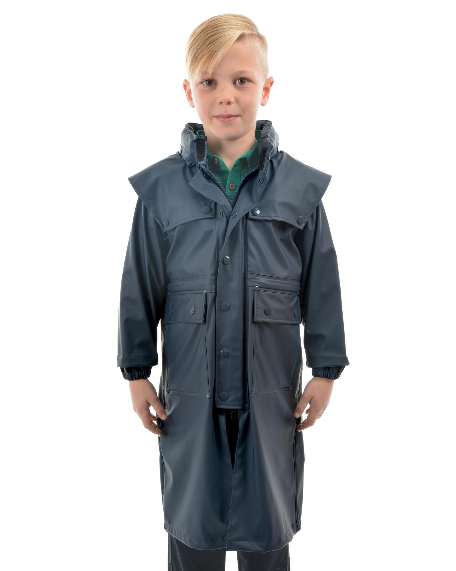 Kids Navy Pioneer Long Raincoat