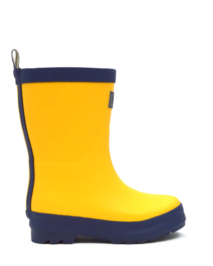 Yellow & Navy Matte Kids Gumboots