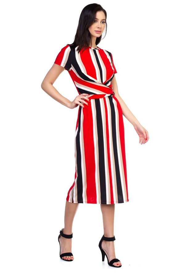 Stripe Twist Front Dress - Babe Shoppe