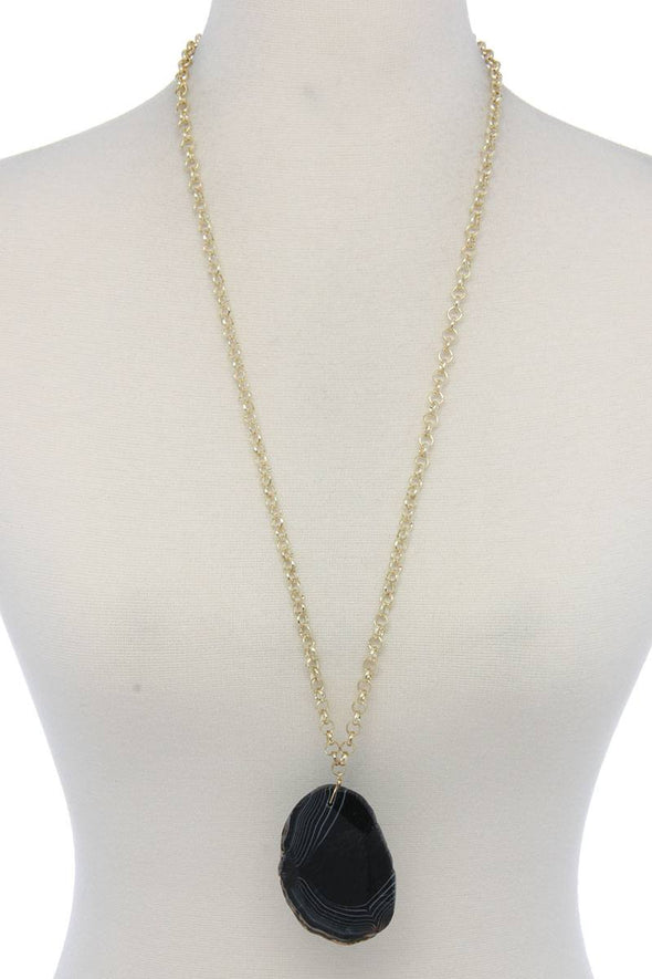 Stone Circle Metal Necklace - Babe Shoppe