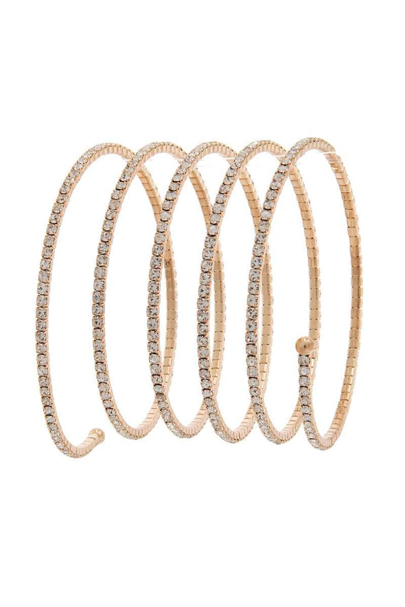Spiral Pave Lined Rhinestone Ball Ended Bracelet - Babe Shoppe