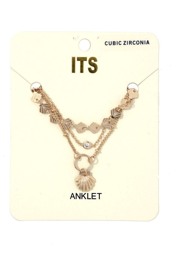 Seashell Charm Metal Layered Anklet - Babe Shoppe