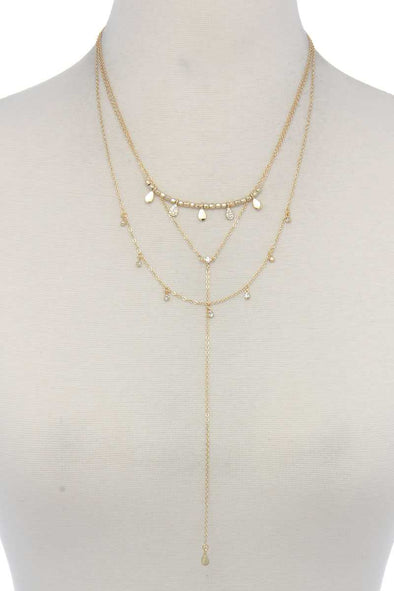 Hammered Teardrop Shape Dangle Layered Necklace - Babe Shoppe
