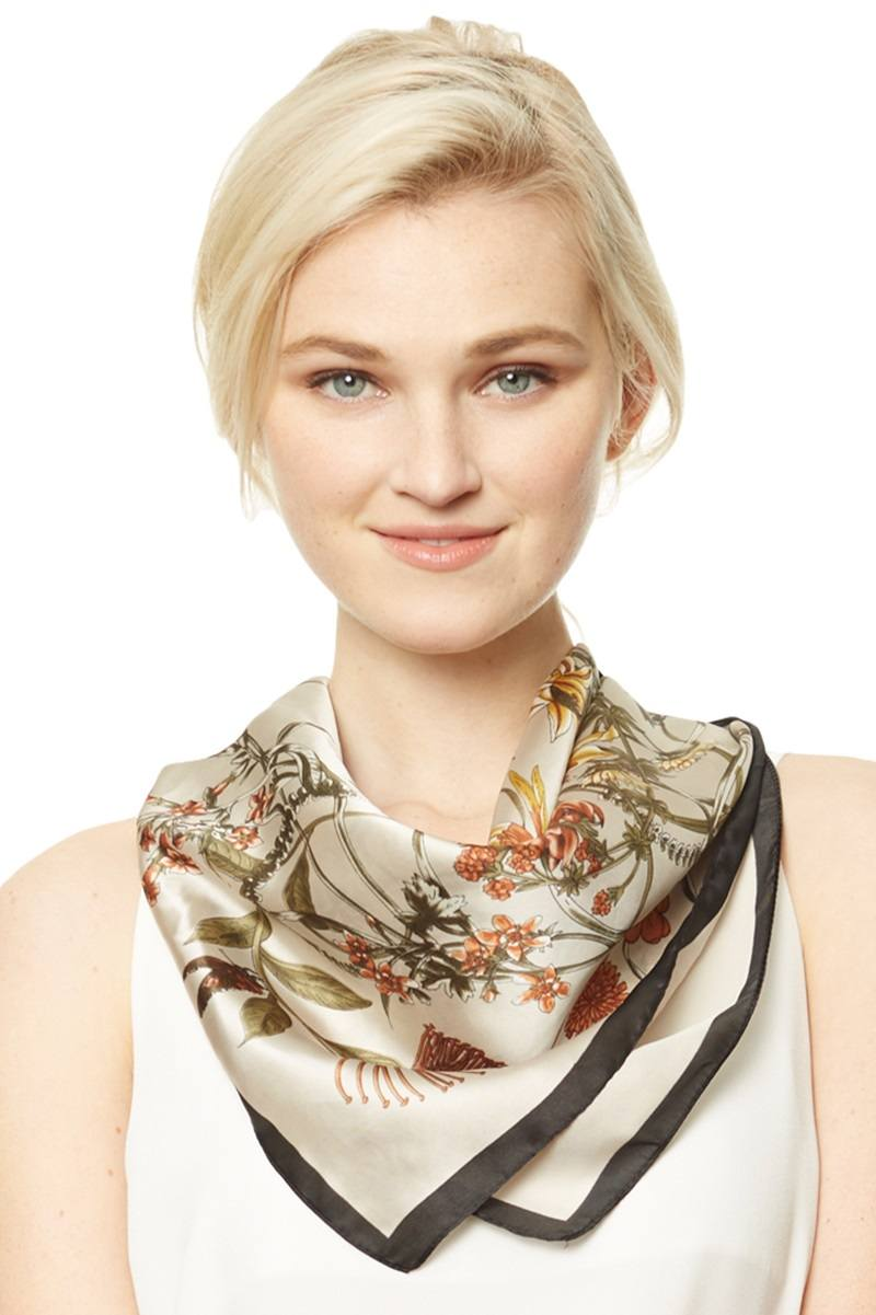 Abstract Floral Print Square Scarf - Babe Shoppe
