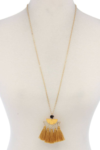 Half Circle Tassel Pendant Necklace - Babe Shoppe
