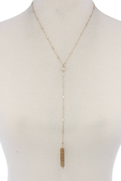Rectangular Faux Stone Y Shape Necklace - Babe Shoppe