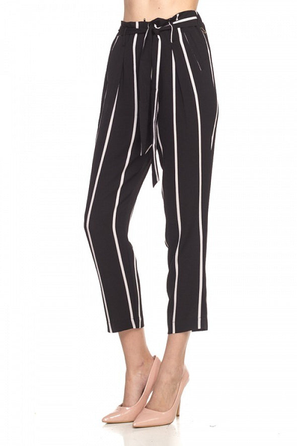 Stripe Belted Bubble Crepe Pants - Babe Shoppe
