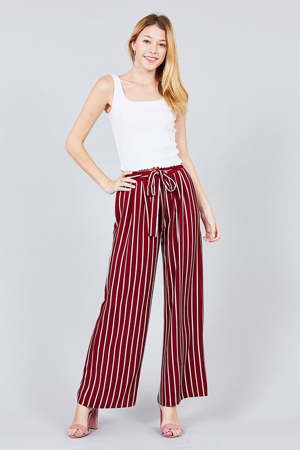Stripe Print Waist Self Bow Tie Crepe Long Pants - Babe Shoppe