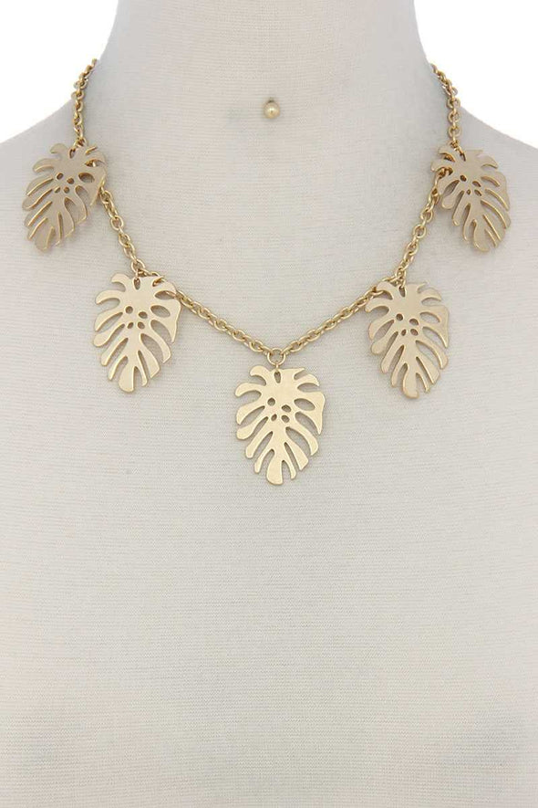 Tropical Leaf Dangle Metal Necklace - Babe Shoppe