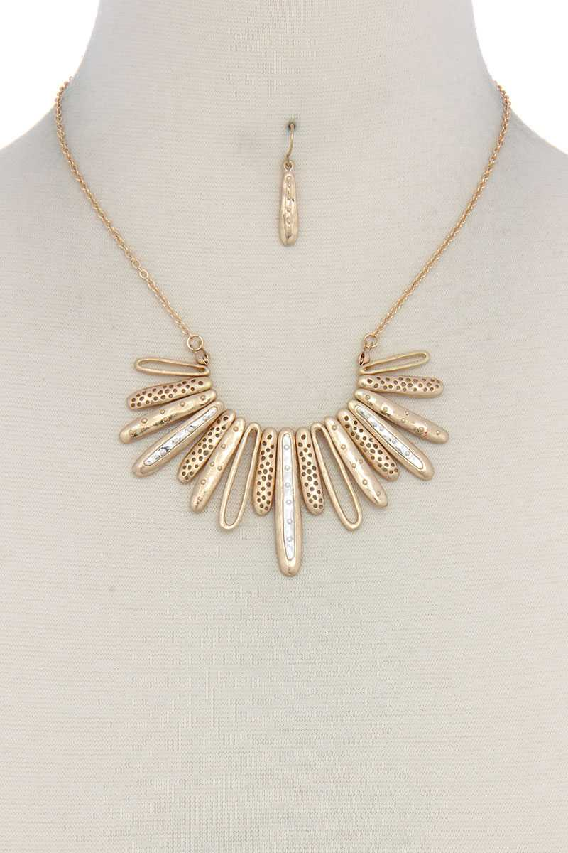 Long Oval Shape Metal Necklace