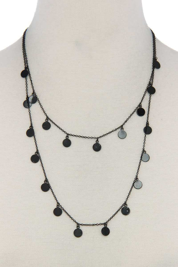Coin Dangle Metal Layered Necklace - Sassy Gal Fashion
