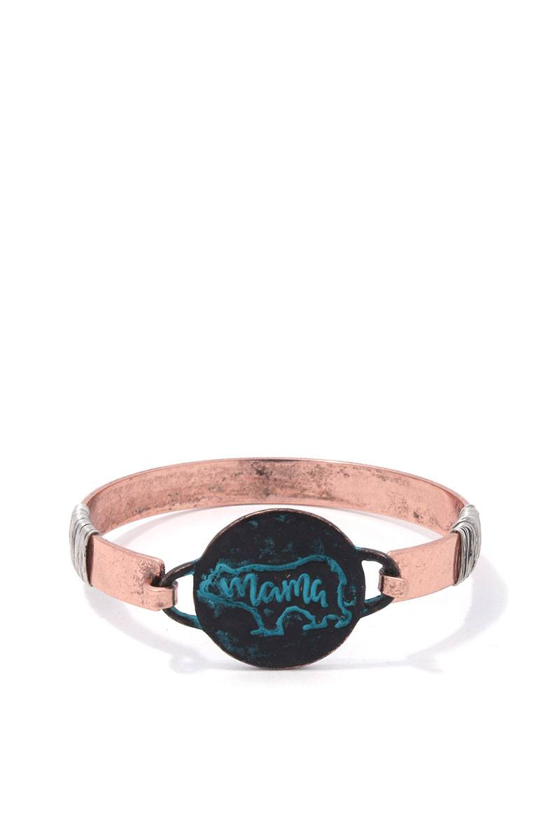 Mama Bear Circle Metal Bracelet - Babe Shoppe