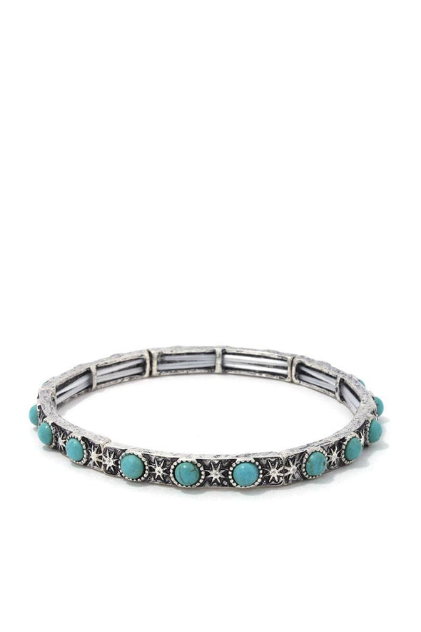 Circle Bead Metal Stretch Bracelet - Babe Shoppe