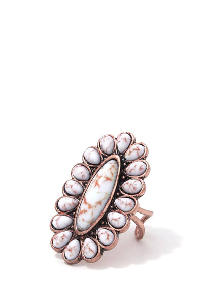Oval Shape Bead Metal Ring - Babe Shoppe