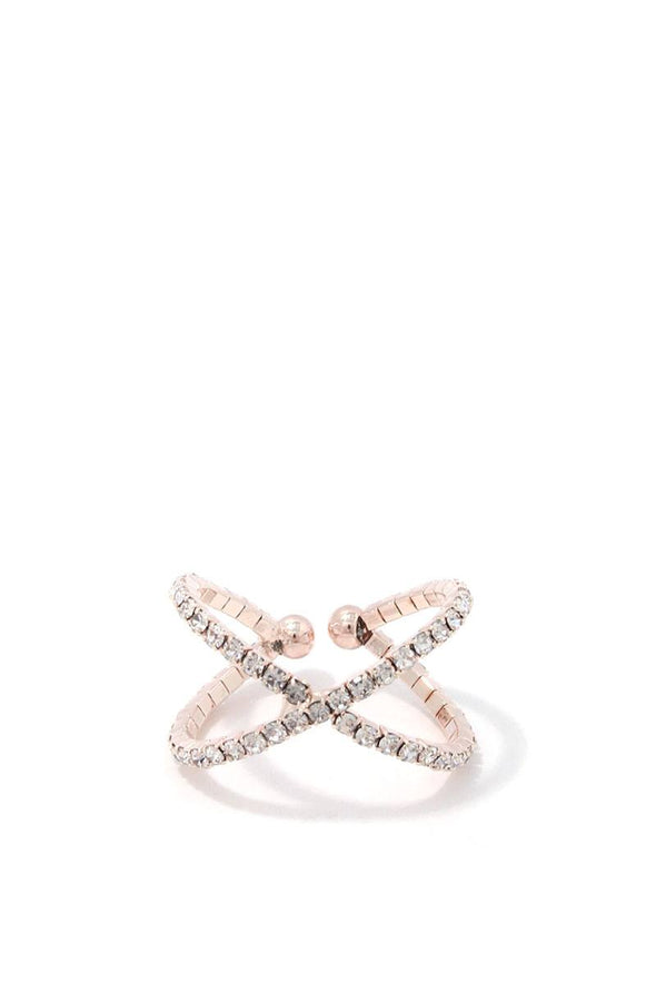 Criss Cross Rhinestone Ring - Babe Shoppe