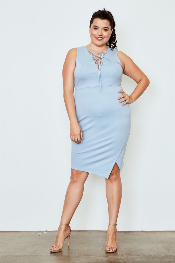 Plus Size Light Blue Lace Up Asymmetrical Front Dress - Babe Shoppe