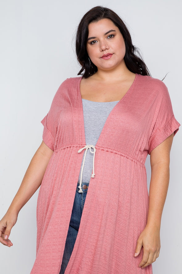 Plus Size Basic High Low Cardigan Cover Up - Babe Shoppe