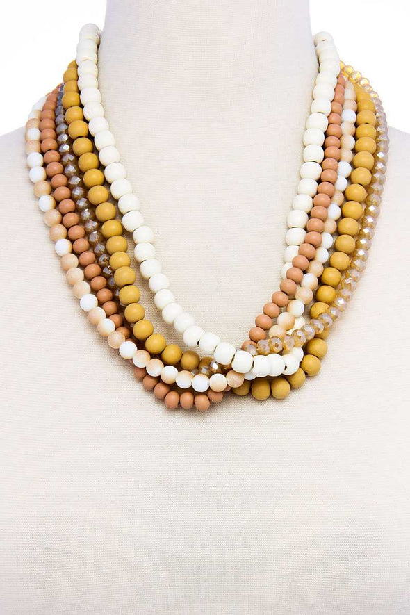 Stylish Trendy Multi Beaded Necklace - Babe Shoppe