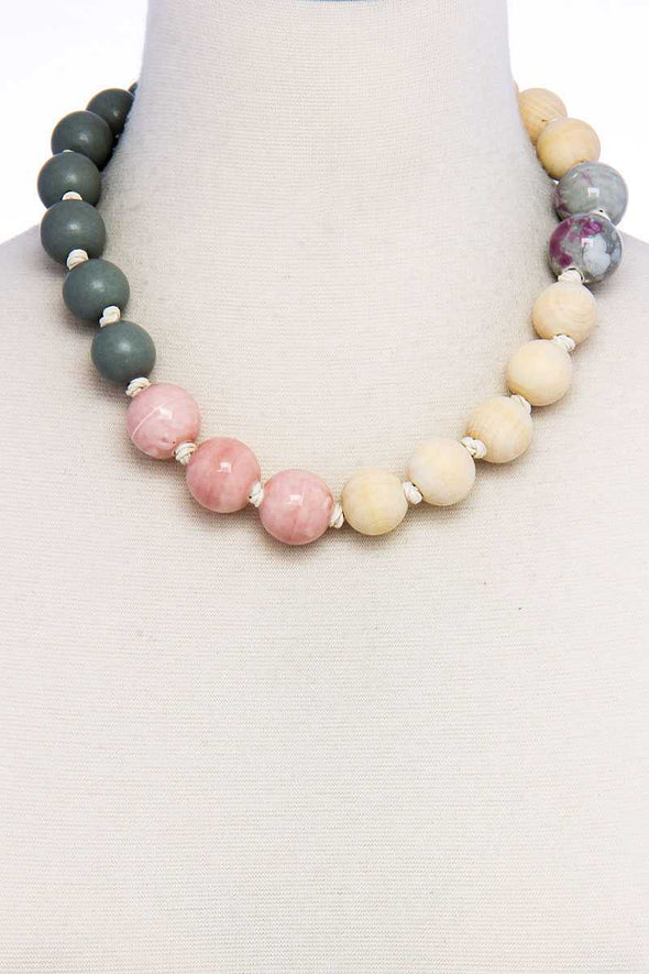 Modern Fashion Big Bead Necklace - Babe Shoppe