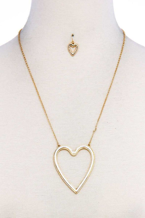 Fashion Big Heart Necklace And Earring Set - Babe Shoppe