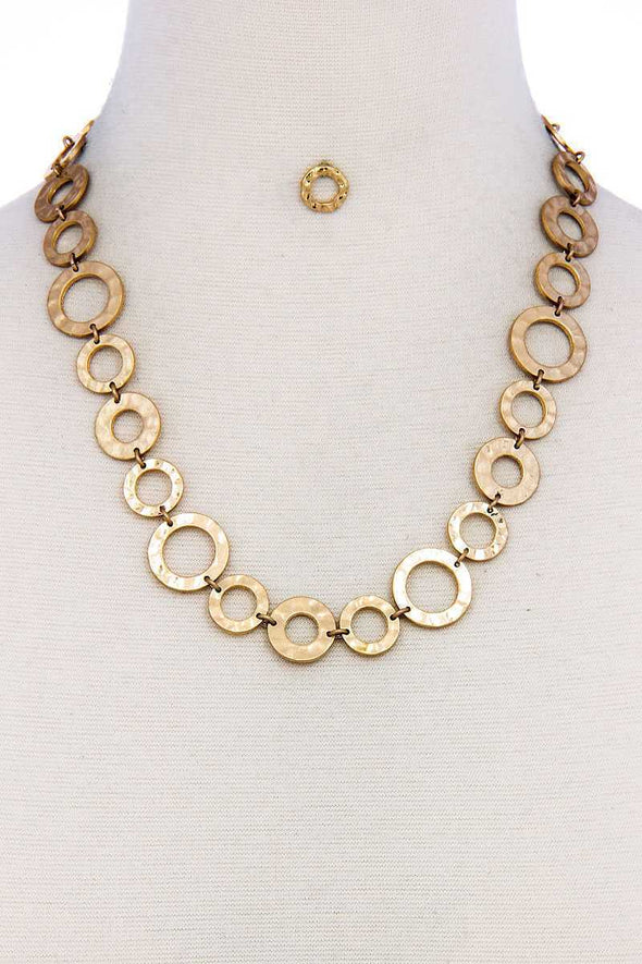 Designer Chic Trendy Hoop Chain Necklace And Earring Set - Babe Shoppe