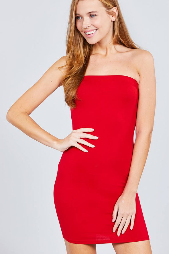 Tube Cotton Spandex Mini Dress - Babe Shoppe