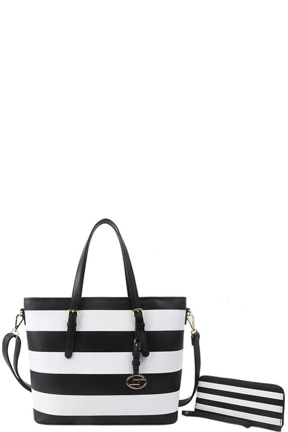 2in1 Modern Striped Shopper Bag With Matching Wallet - Babe Shoppe